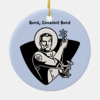 Bond, Covalent Round Ceramic Ornament