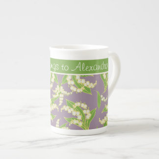 Bone China Coffee Mug: Lilies of the Valley, Mauve Tea Cup