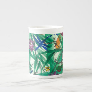 Bone China coffee wake up cup w tropical design
