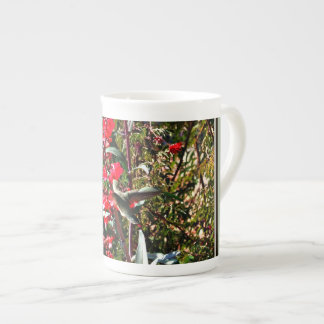 Bone China Cup - Hummingbird in Tree's Red Blooms