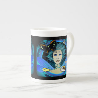 Bone China Mug - Art Déco Fairy Butterfly & Fishes