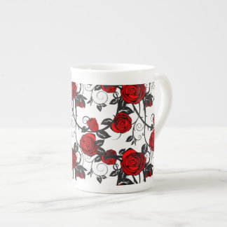 Bone China Mug-Red Rose Vine Tea Cup