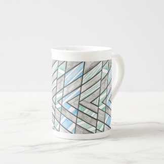 Bone China Mug: Striped V Motif Tea Cup