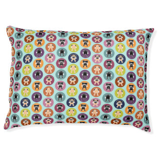 Bone! Circle Print (Fawn & Black Pugs) Large Dog Bed