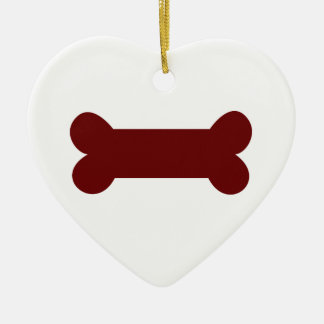 bone for dog ceramic heart ornament