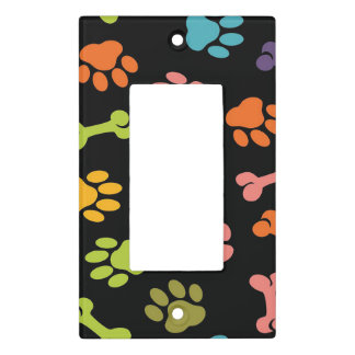 Bones and Puppy Paw Prints Light Switch Cover