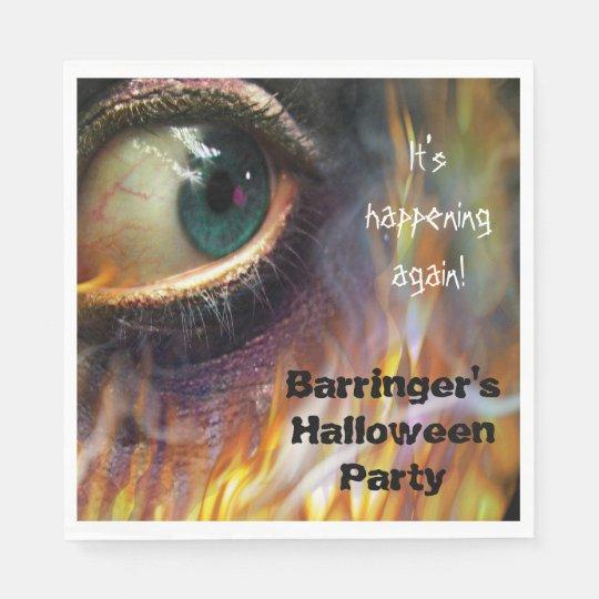 Bonfire Evil Eye Flames  Halloween Party Napkin Disposable Napkin