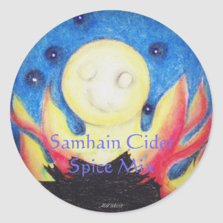 Bonfire Moon Samhain Witch Wiccan Craft Label