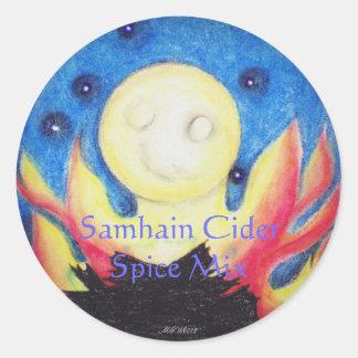 Bonfire Moon Samhain Witch Wiccan Craft Label Round Sticker