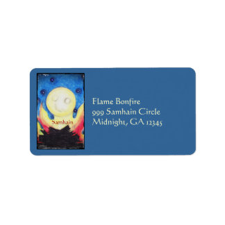 Bonfire Moon Samhain Witch Wiccan Pagan Label