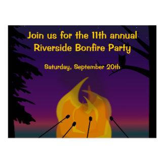 Bonfire Party Postcard Invitation
