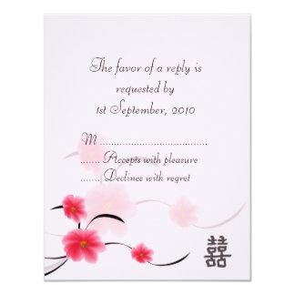 Bonheur de double de fleur de rose de carte de carton d'invitation 10,79 cm x 13,97 cm