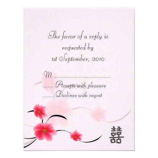 Bonheur de double de fleur de rose de carte de RSV Invitations Personnalisables