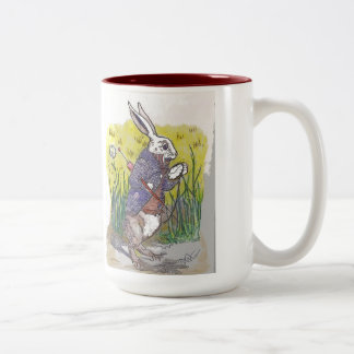 Bonhomme Bunny with Pocket Watch Two-Tone Coffee Mug