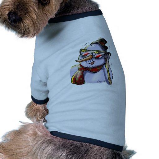 Bonhomme de neige avec des lunettes de soleil manteaux pour animaux domestiques