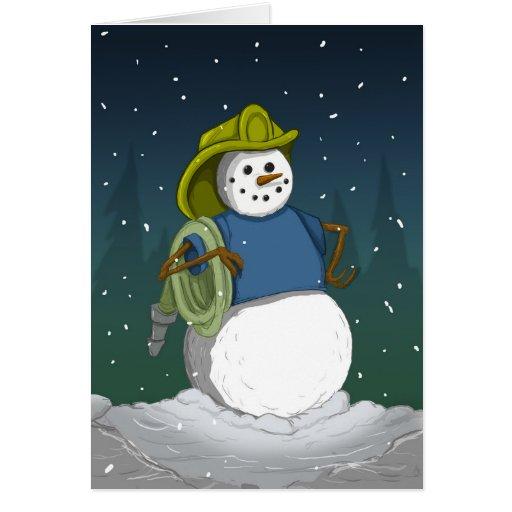 Bonhomme de neige de sapeur-pompier carte de vœux