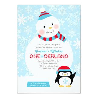 Bonhomme de neige et pingouin de l'anniversaire | carton d'invitation  12,7 cm x 17,78 cm