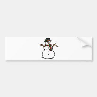Bonhomme de neige heureux dans le chapeau autocollant de voiture