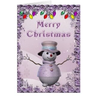 Bonhomme de neige mignon dans la carte de Noël