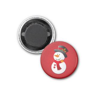 Bonhomme de neige mignon et drôle de Noël Magnet Carré 2,50 Cm