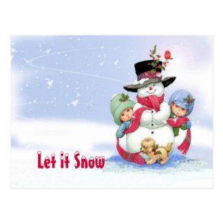 Bonhomme de neige sur la scène de Noël Carte Postale
