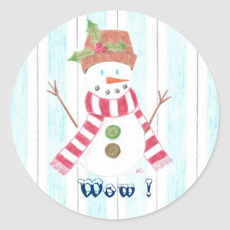 Bonhomme de neige (Wow !) reward Classic Round Sticker
