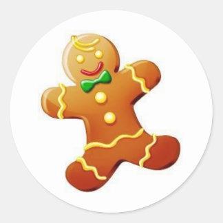 Bonhomme en pain d'épice de Noël Autocollant Rond