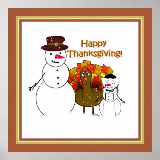 Bonhommes de neige de thanksgiving posters