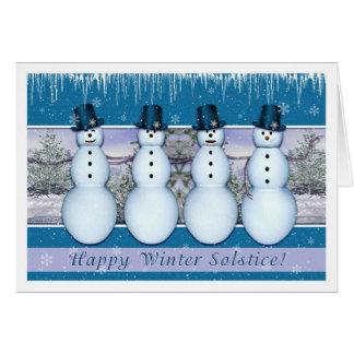 Bonhommes de neige - solstice d'hiver/Noël Carte