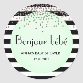 Bonjour bebe french inspired baby shower sticker