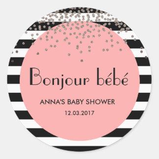 Bonjour bebe french inspired baby shower sticker