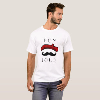 Bonjour Beret and Mustache Funny Classic T-Shirt
