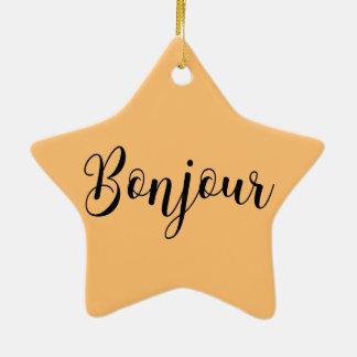 Bonjour-blackText Ceramic Ornament