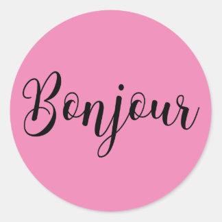 Bonjour-blackText Classic Round Sticker