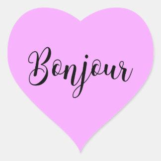 Bonjour-blackText Heart Sticker