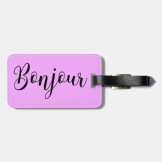 Bonjour-blackText Luggage Tag