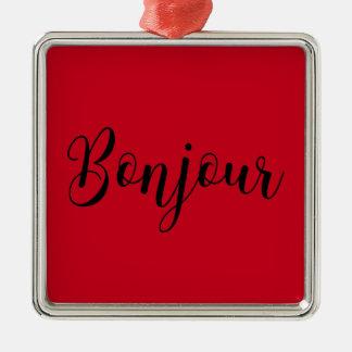 Bonjour-blackText Metal Ornament