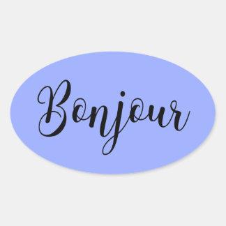 Bonjour-blackText Oval Sticker