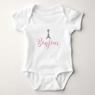 Bonjour-Eiffel Tower Bow Unique Baby Bodysuit