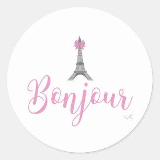 Bonjour-Eiffel Tower Bow Unique Classic Round Sticker