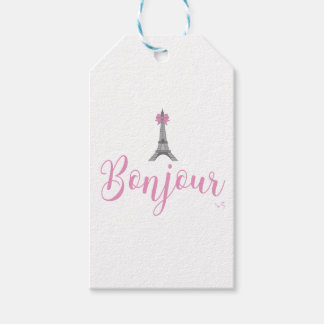 Bonjour-Eiffel Tower Bow Unique Gift Tags