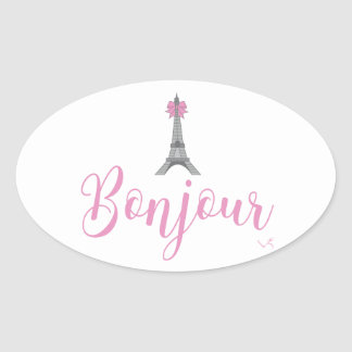 Bonjour-Eiffel Tower Bow Unique Oval Sticker