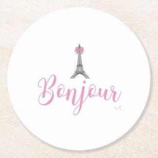 Bonjour-Eiffel Tower Bow Unique Round Paper Coaster