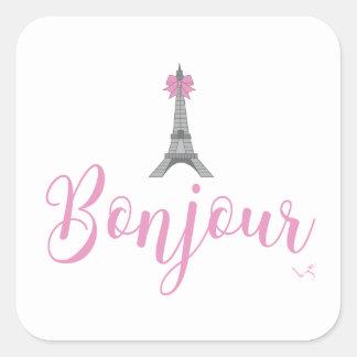 Bonjour-Eiffel Tower Bow Unique Square Sticker