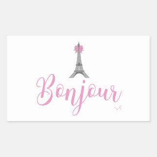 Bonjour-Eiffel Tower Bow Unique Sticker
