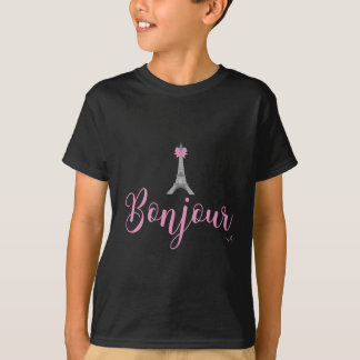 Bonjour-Eiffel Tower Bow Unique T-Shirt