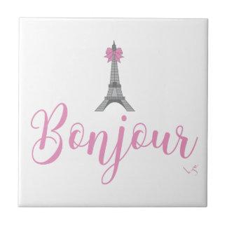 Bonjour-Eiffel Tower Bow Unique Tile