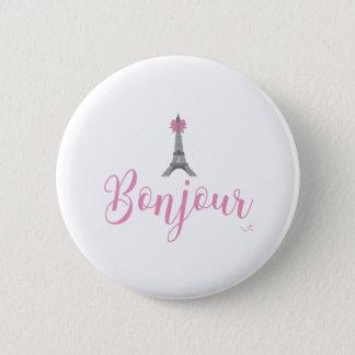 Bonjour-Eiffel-Tower-Pink-Bow 2 Inch Round Button