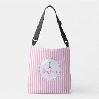 Bonjour Eiffel Tower, Pink bow, Modern Crossbody Bag