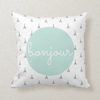 Bonjour Eiffel Tower print in grey Throw Pillow